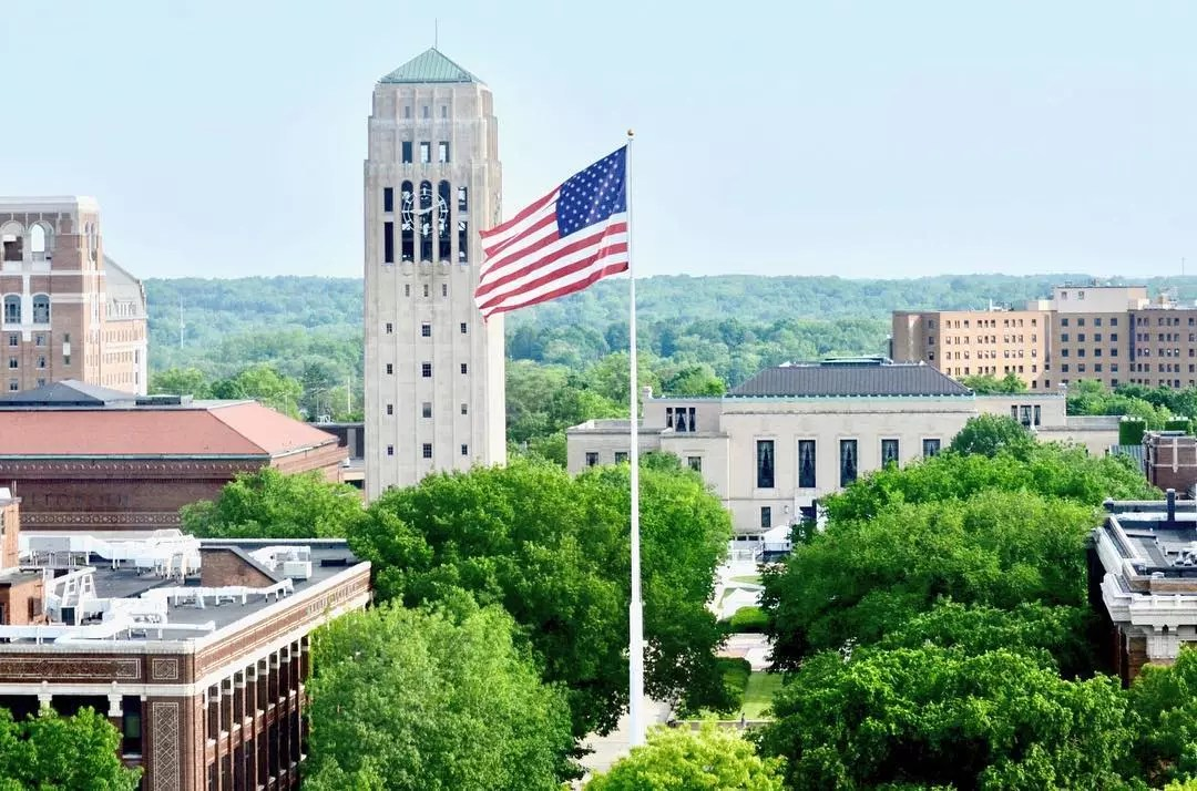 University of Michigan campus american flag flying by Instagram user @uofmichigan