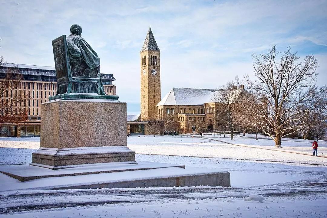 Cornell University covered in snow photo by instagram user @cornelluniversitycals