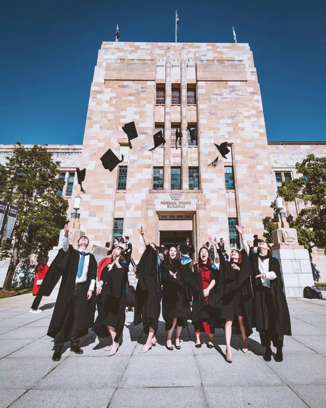College Graduates Tossing Caps in the Air. Photo by Instagram user @beccczy