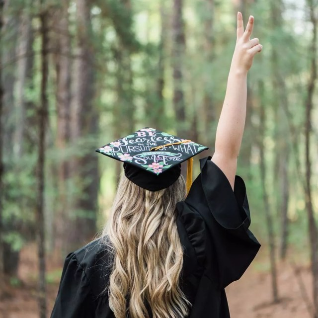 Back of High School Graduate with Cap and Gown. Photo by Instagram user @lindseym_98