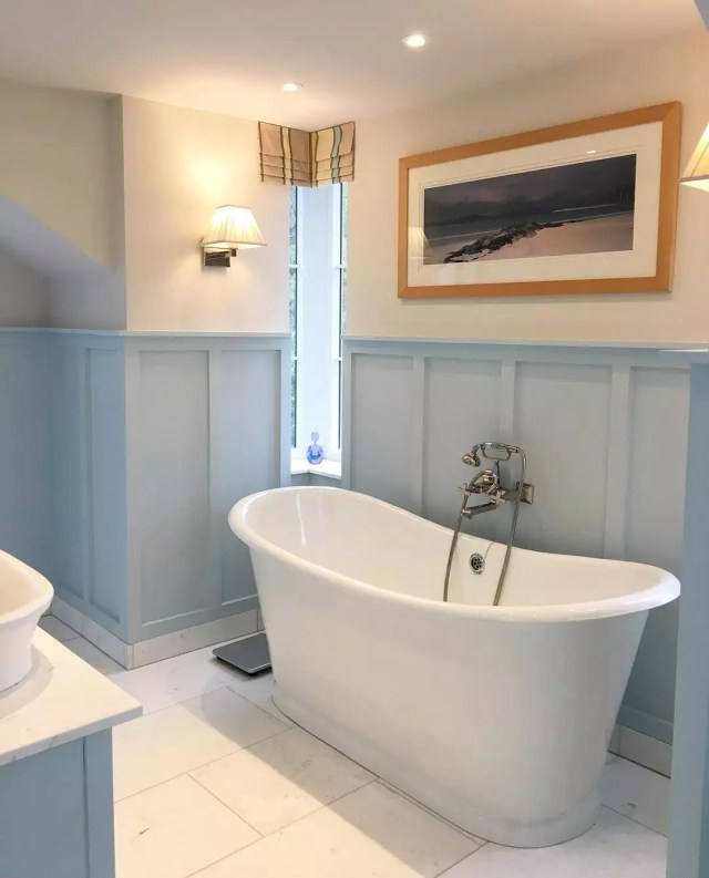 Bathroom with soaking tub. Photo by Instagram user @fineandcountrylakedistrict