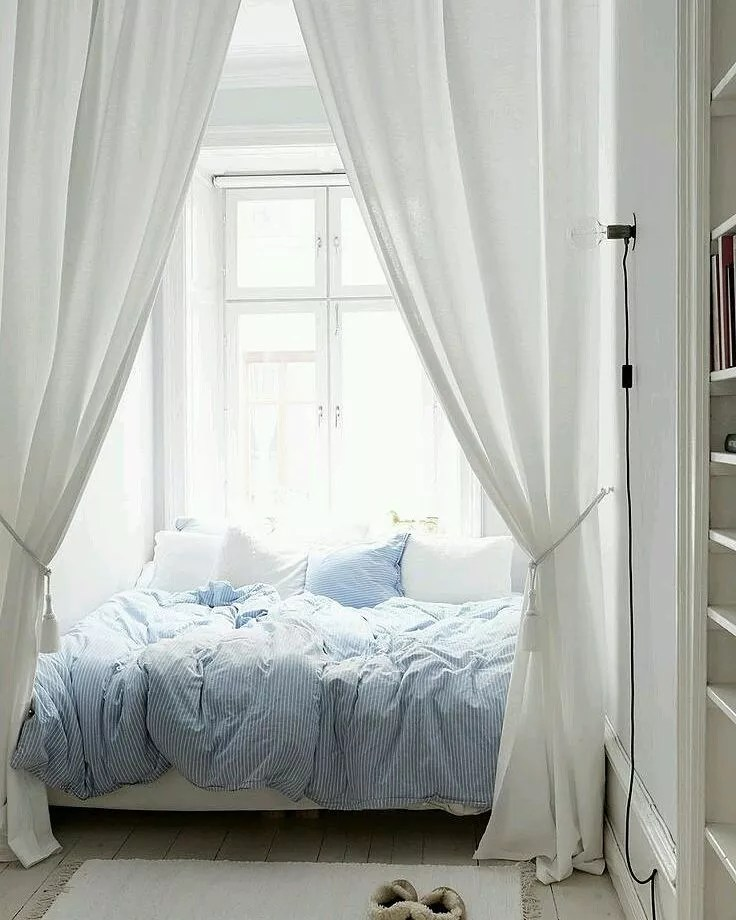 Bedroom with Large White Curtain Surrounding Bed. Photo by Instagram user @best.bedroom.ideas.backup