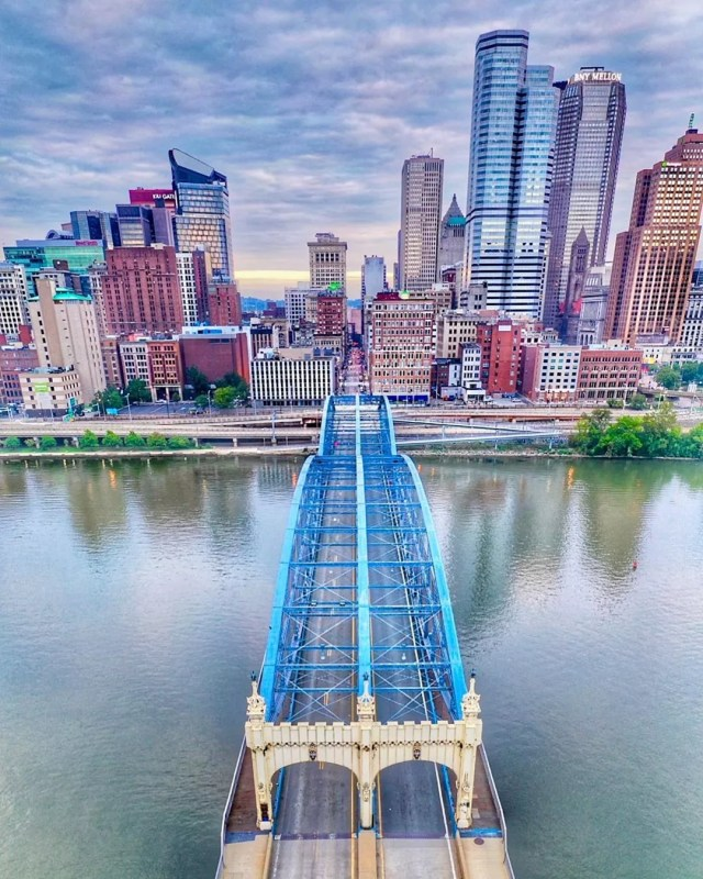 Drone photo of Smithfield Bridge looking into Downtown Pittsburgh. Photo by Instagram user @berksbr