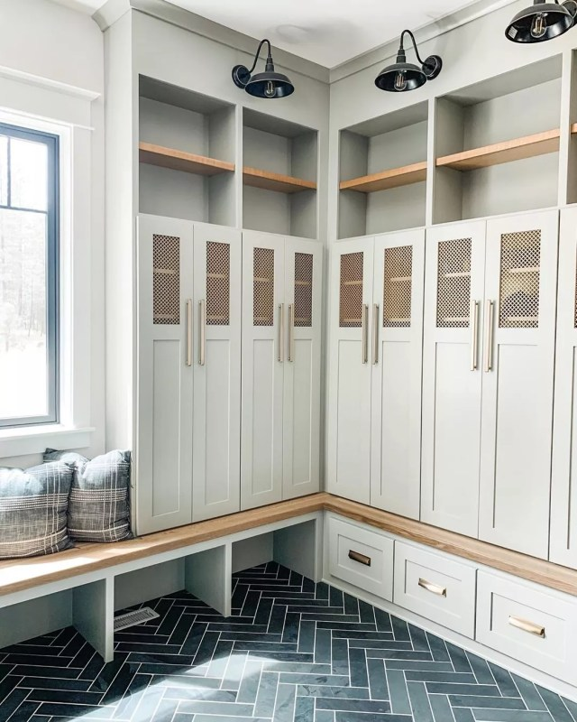 Storage lockers in mudroom. Photo by Instagram user @boulderparkfarmhouse