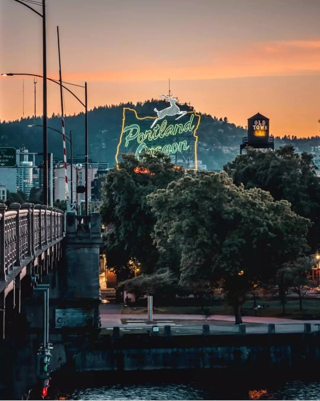 View of Portland, Oregon, sign with city in the background Photo by Instagram user @portland