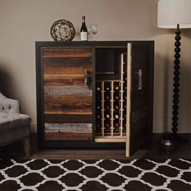Custom-Built Wooden Credenza Used to Store Wine Bottles. Photo by Instagram user @sommiwinecellars