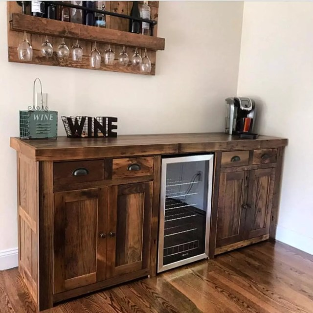 Wooden Wine Cabinet with Refrigerator Built In. Photo by Instagram user @uniquecustomfurniture