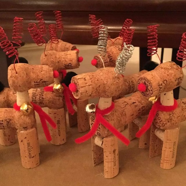 Small Homemade Reindeer Made From Corks from Wine Bottles. Photo by Instagram user @emilymichael1