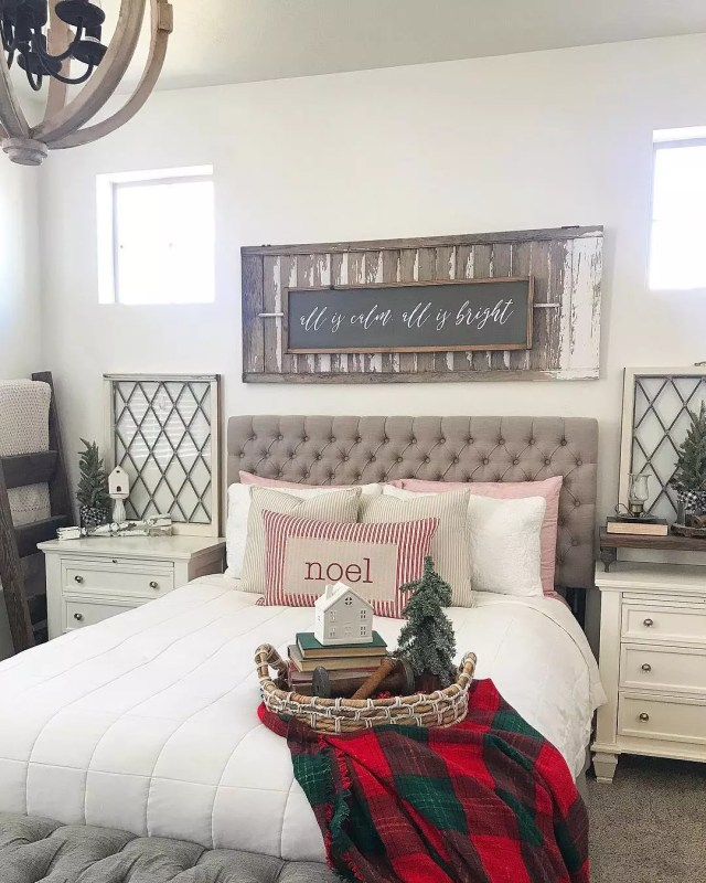 Guest Room Adorned with Christmas Blankets, Pillows, and Other Decorations. Photo by Instagram user @down_mulberry_lane