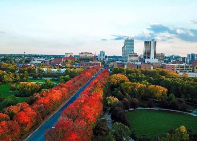 Fort Wayne skyline with red trees photo by Instagram user @visitfortwayne