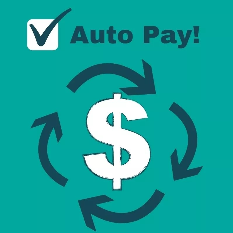 Graphic with Dollar Sign Encouraging Auto Pay. Photo by Instagram user @beneighinsurancegroup
