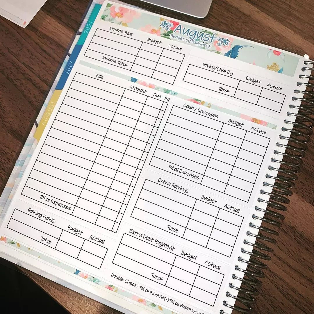 Notebook for Budget Planning Between Income, Fixed Expenses, and Other Expenses. Photo by Instagram user @amandaraeplans