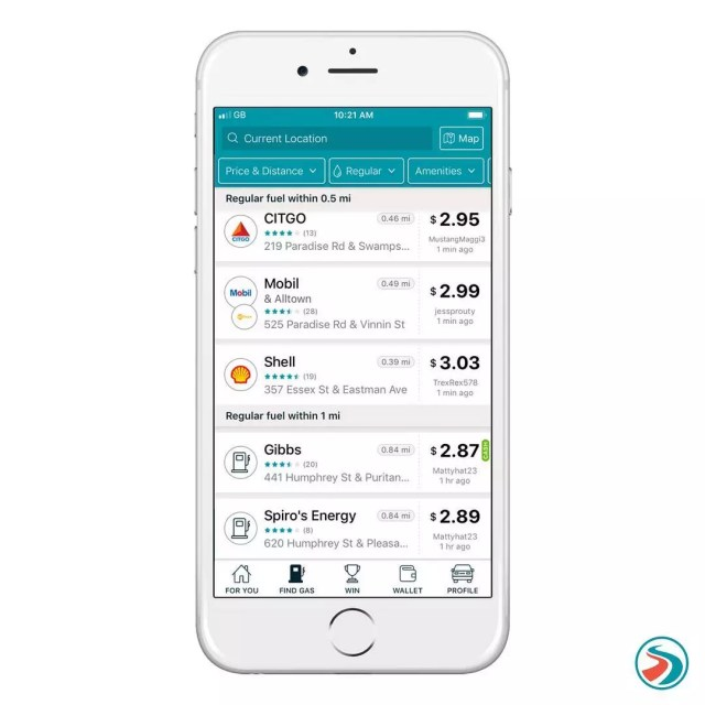 Smartphone Using GasBuddy App to Compare Prices from Different Gas Stations. Photo by Instagram user @gasbuddy