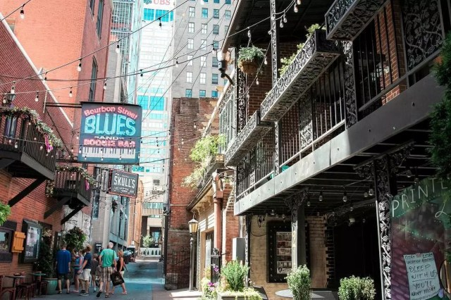 Street view of Historic Printer's Alley, Nashville, TN. Photo via Instagram user @lifestylecommunities.