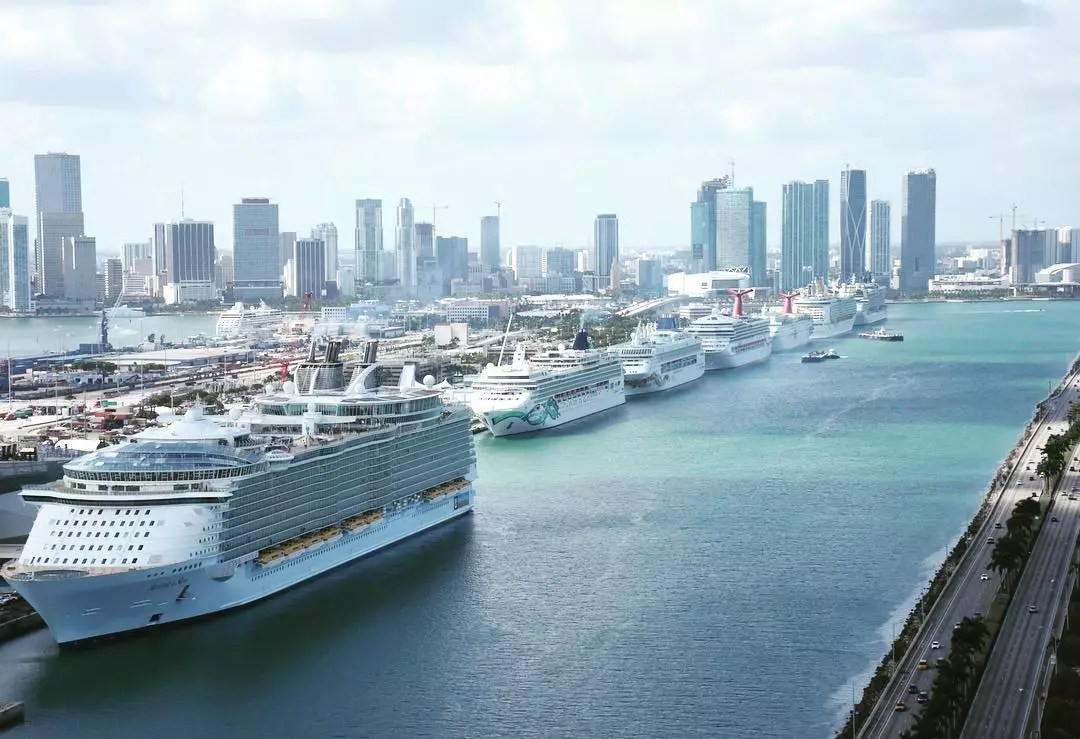Aerial view of cruiseships in the Port Miami in Miami, FL. Photo by Instagram user @portmiami