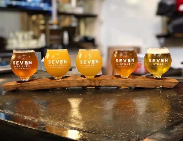 Flight of five different beers from Seven Stills Brewery. Photo by Instagram user @beveragemode