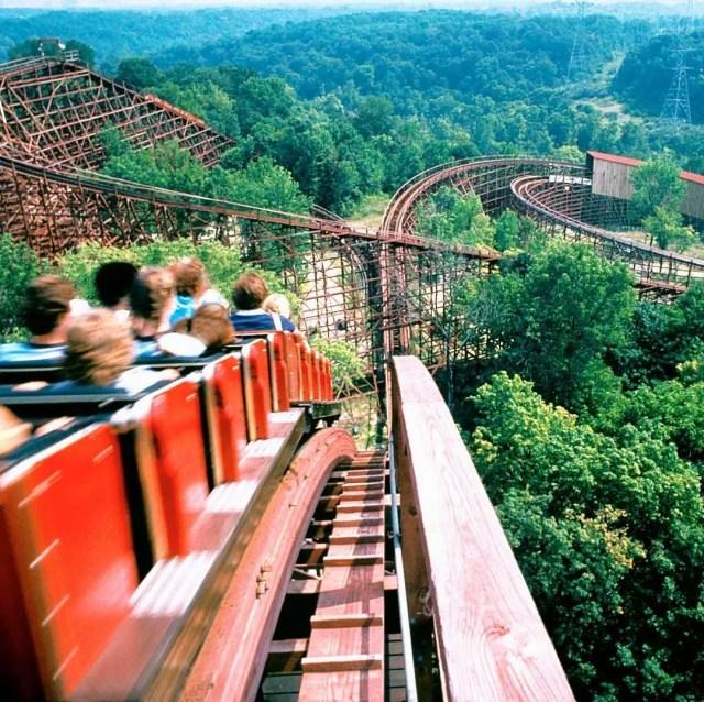 Rollercoaster going down on a hill at Kings Island in Cincinnati. Photo by Instagram user @kingsislandpr