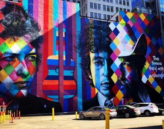 Kaleidoscope wall mural of Bob Dylan. Photo by Instagram user @jspan1980