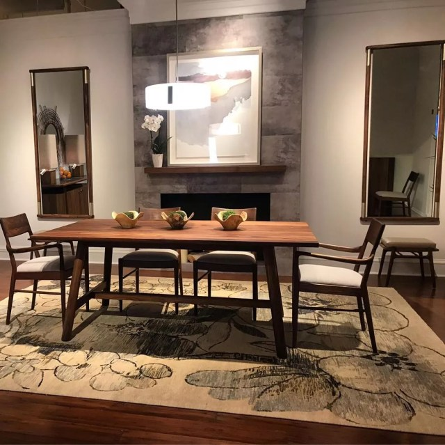 Brown dining floor model at Allens Home store. Photo by Instagram user @allenshome
