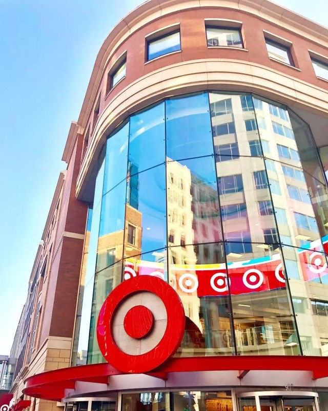 Front of Target Headquarters with a giant Target sign in Downtown Minneapolis. Photo by Instagram user @hoffmanjon