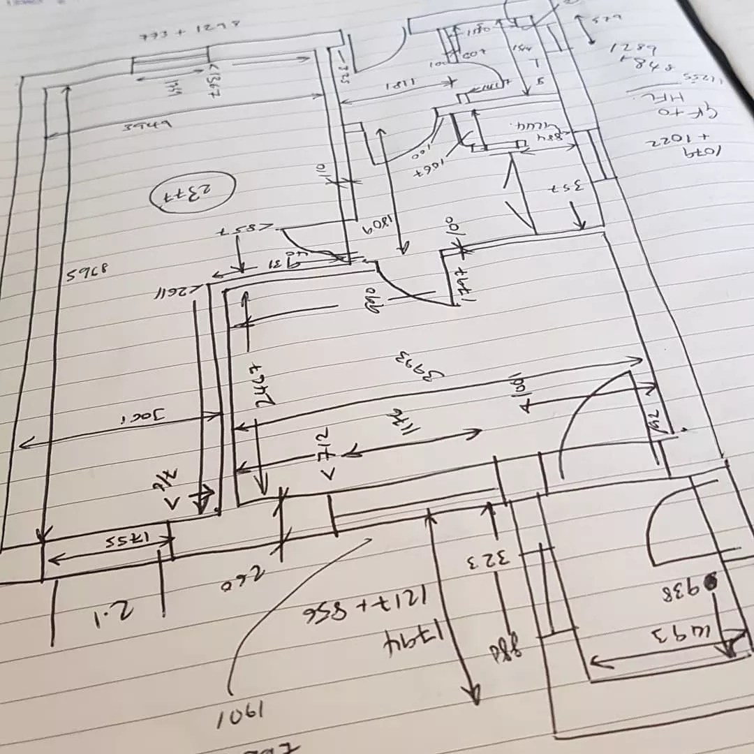 Sketch for a floor plan. Photo by Instagram user @armstrongarchitectural