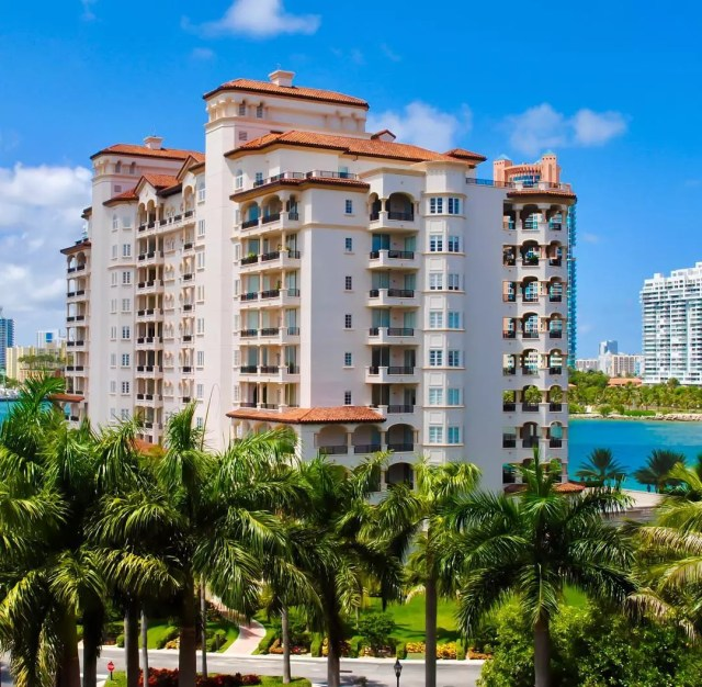 Luxury condo building in Fisher Island, FL. Photo by Instagram user @arialuxerealty