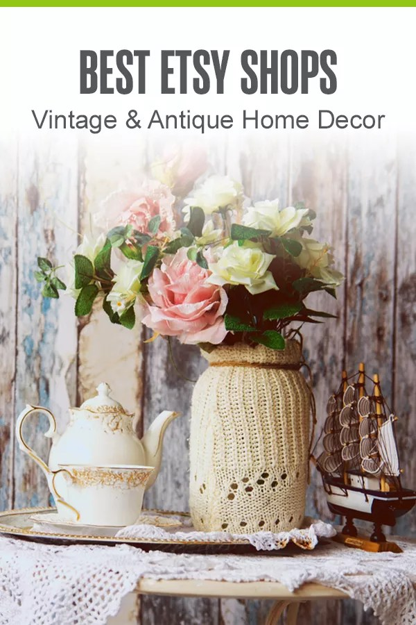 Pinterest Graphic: Best Etsy Shops: Vintage & Antique Home Decor