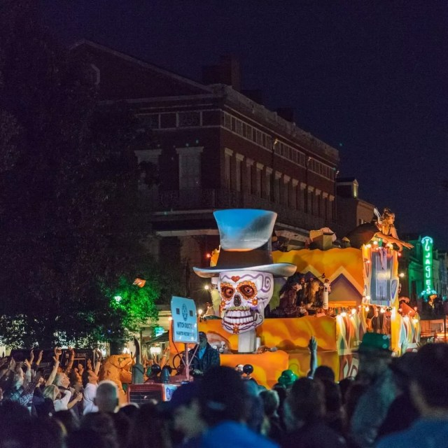 Halloween parade with skeleton float in New Orleans. Photo by Instagram user @visitneworleans