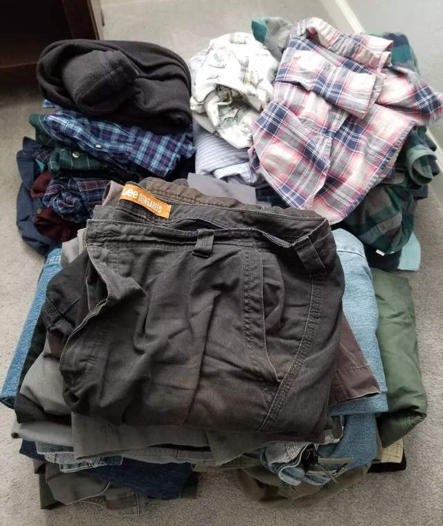 Old clothes folded on floor. Photo by Instagram user @davegregor2018