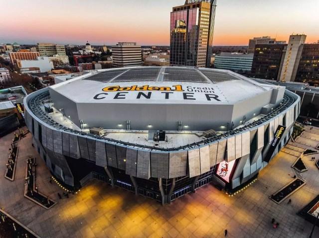 Aerial view of Golden 1 Center arena. Photo by Instagram user @aerialsacramento