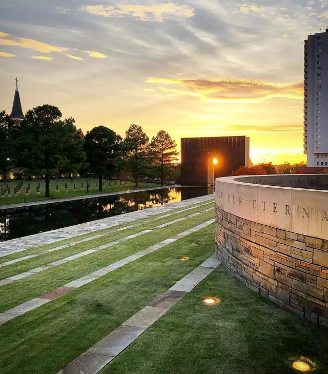 Oklahoma City National Memorial next to pond. Photo by Instagram user @gadinbc