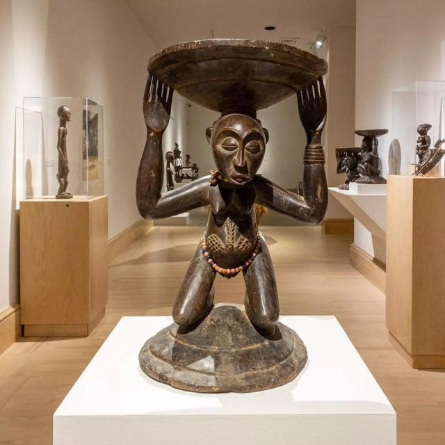 Sculpture of African woman holding bowl. Photo by Instagram user @montgomerymfa