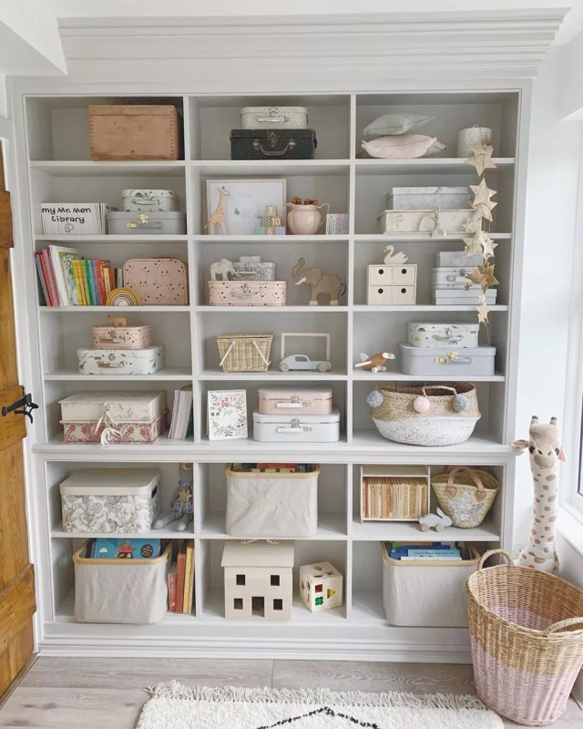 storage wall with individual cubby holes photo by Instagram user @wallflower_cottage
