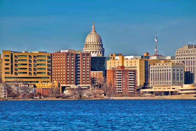 madison, wi capitol building sticking out in the skyline with lake michigan in view photo by Instagram user @evan_ferguson