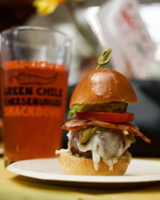 cheeseburger and beer from the green chile cheeseburger smackdown photo by Instagram user @tirawan