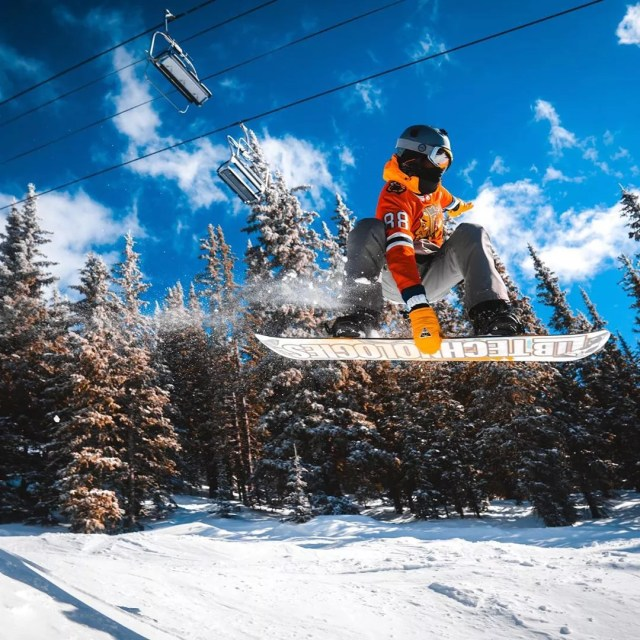 person snowboarding at Ski Santa Fe photo by Instagram user @worldwidejasper