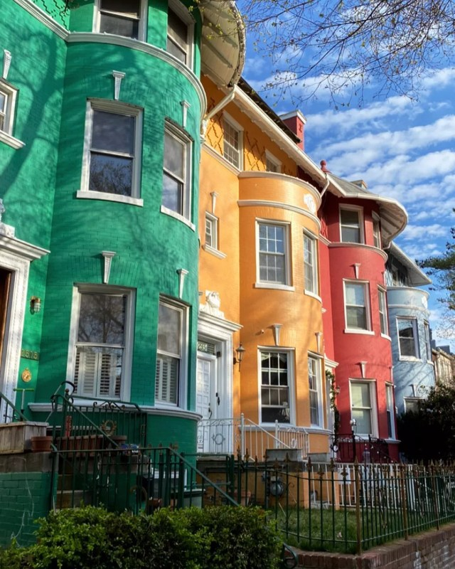 row houses in Adams Morgan, Washington DC photo by Instagram user @mollyhmorrissey