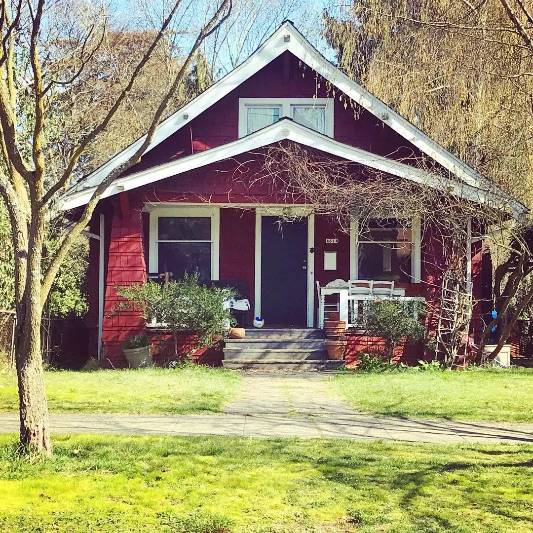 red bungalow style home in wallingford, seattle, WA photo by Instagram user @every.home.tells.a.story