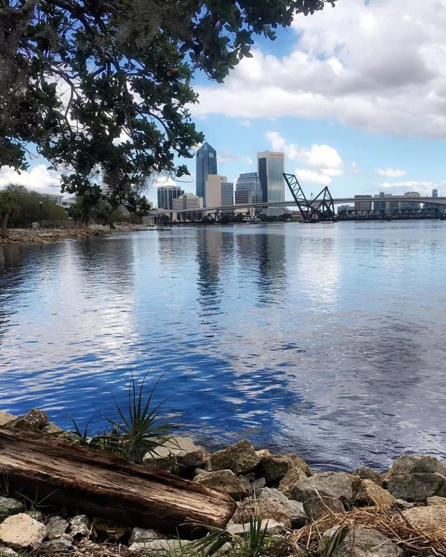 skyline of downtown jacksonville, FL from across the river