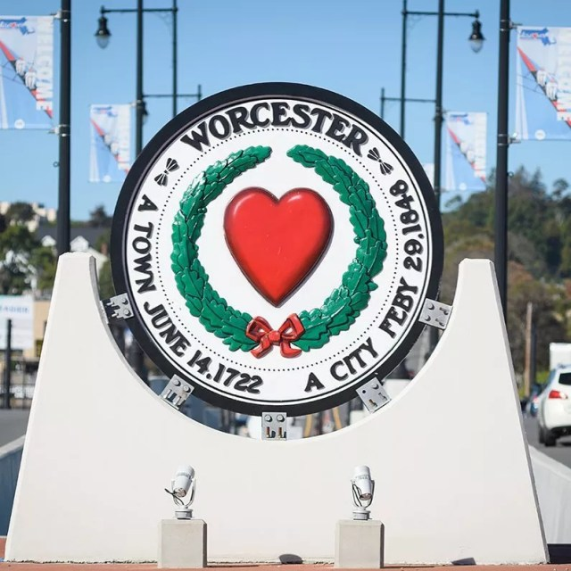 worcester, MA city welcome sign photo by Instagram user @clarkuniversity
