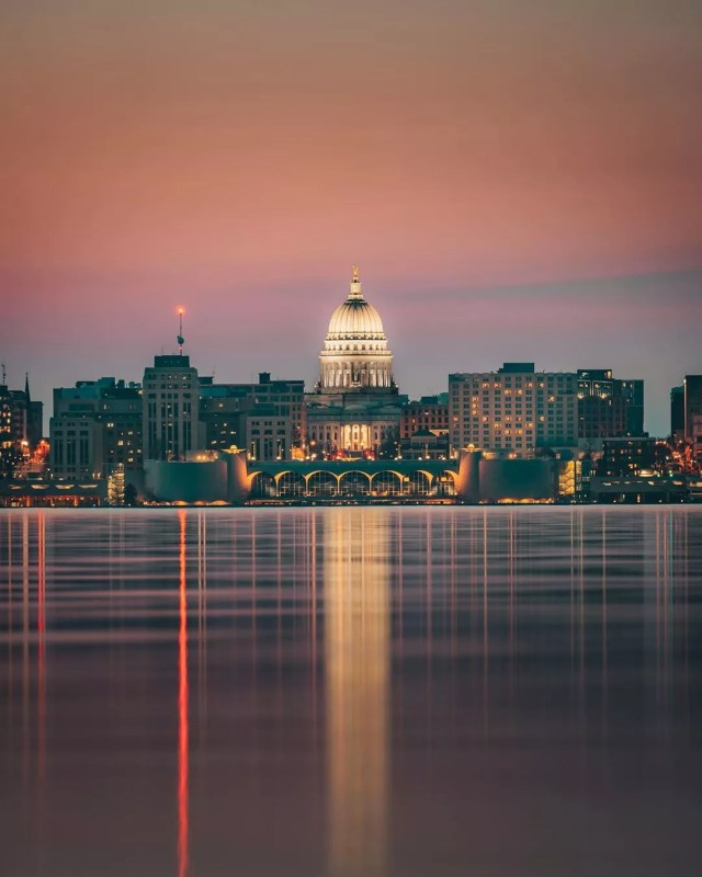 Wisconsin Capital Building in Madison and Downtown from Lake Monona. Photo by Instagram user @samuelli