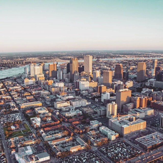 View of Downtown New Orleans from a Helicopter. Photo by Instagram user @barracokevin
