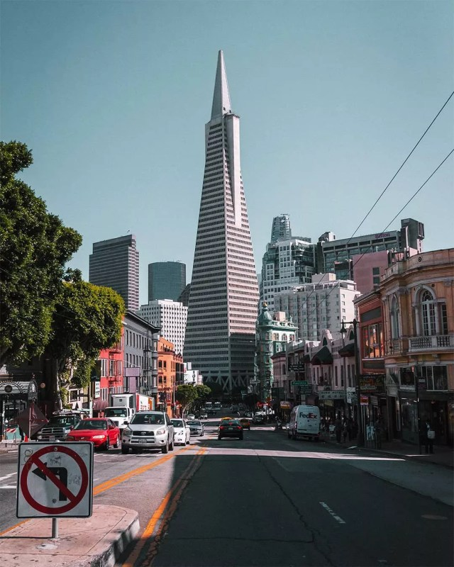 The Transamerica Pyramid in San Francisco Financial District. Photo by Instagram user @nothingsunknown