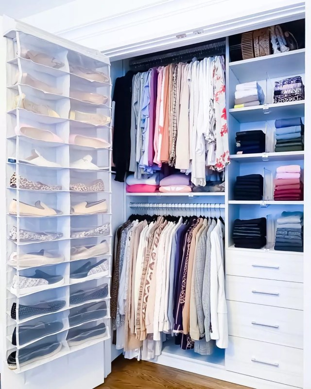 well organized closed with shoes on the door photo by Instagram user @theprojectneat
