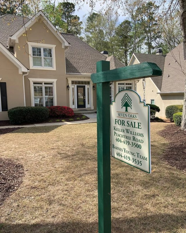 home ready for sale with for sale sign in front yard photo by Instagram user @image360.alpharetta
