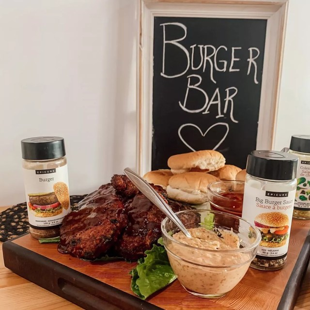 Burger Bar Set Up for Guests. Photo by Instagram user @epicmealswithkara