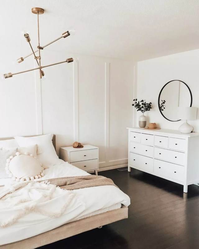 Minimalist Bedroom with Cleared Floors and Matching Furniture. Photo by Instagram user @melb_lifeandhome