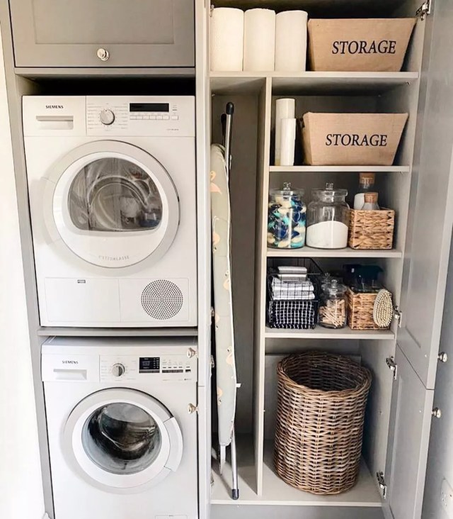 Laundry Closet Set up with Stacked Washer and Dryer. Photo by Instagram user @berkshire.build