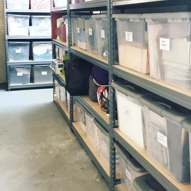 Organized Storage Room using Plastic Totes. Photo by Instagram user @neatlydonekc