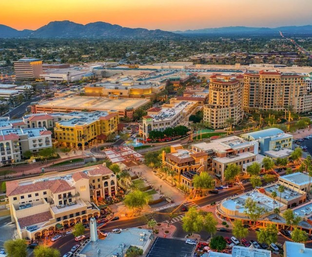 Aerial View of Downtown Scottsdale, AZ at Sunset. Photo by Instagram user @antsdrone